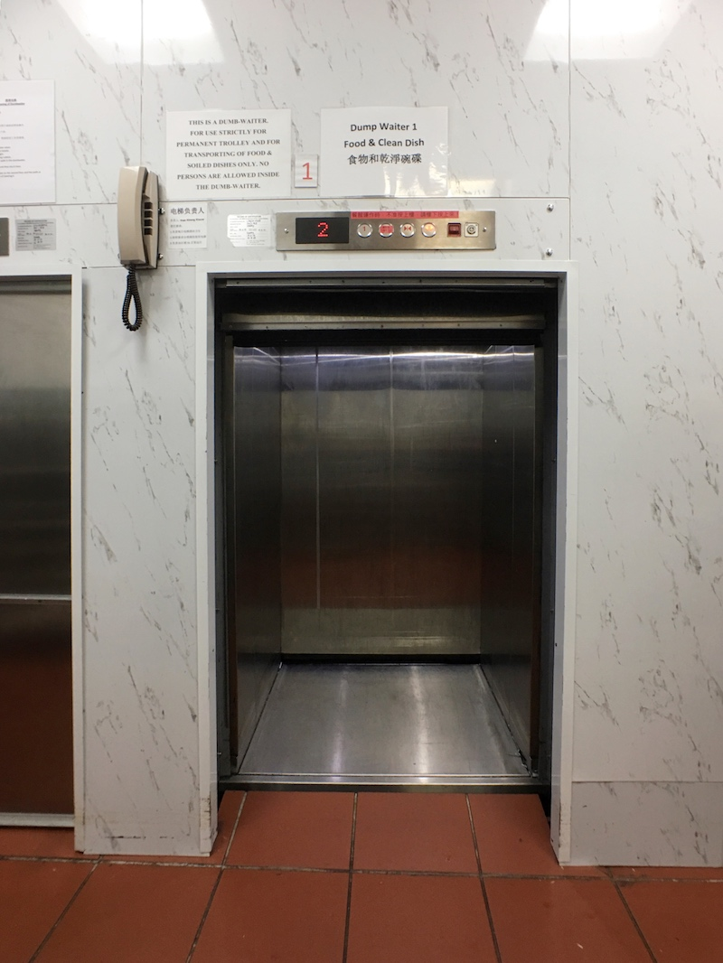 Push-trolley size floor dumbwaiter