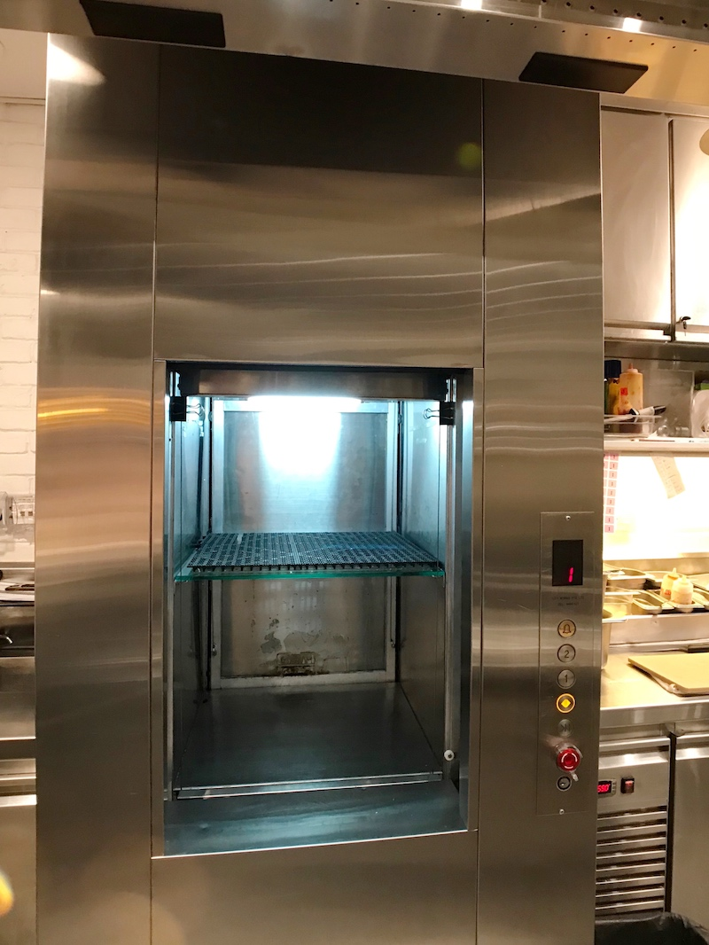 Dumbwaiter Interior with Food Warmer