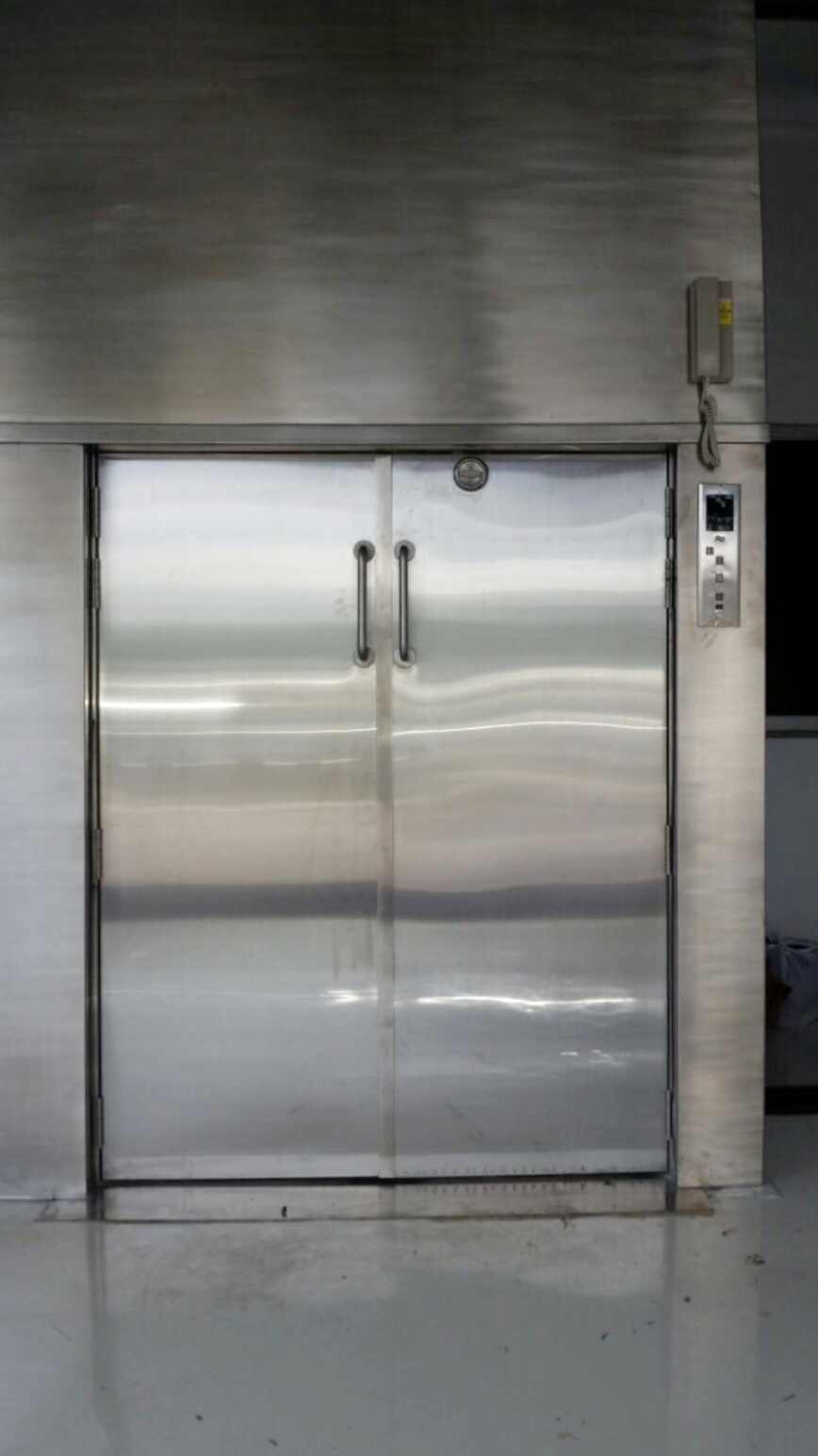 2-panel centre manual swing landing dumbwaiter doors and cabin doors.