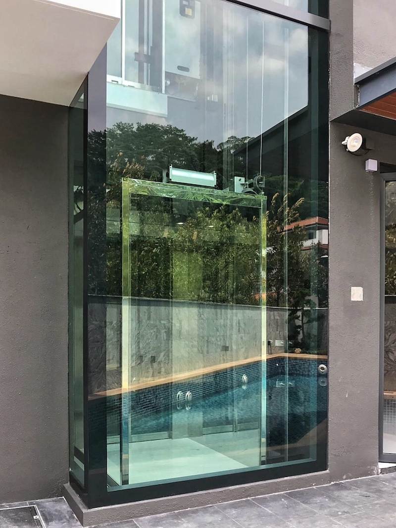 Landed Home Lift with Exterior Glass Shaft